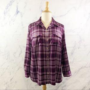 Jones New York Purple Plaid Button Down Shirt 2X